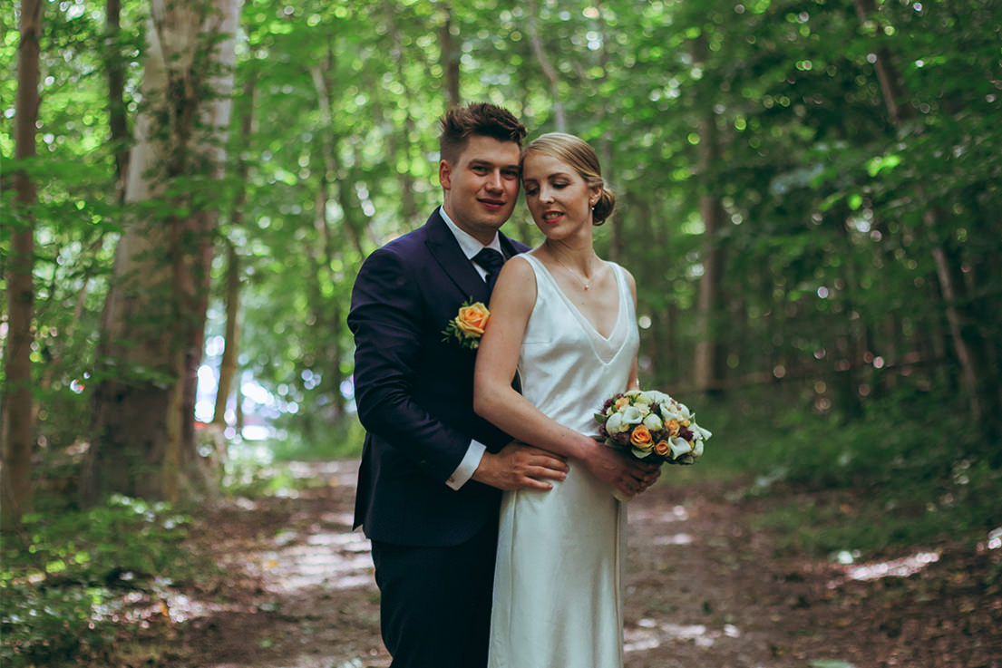 wedding photo in a forest