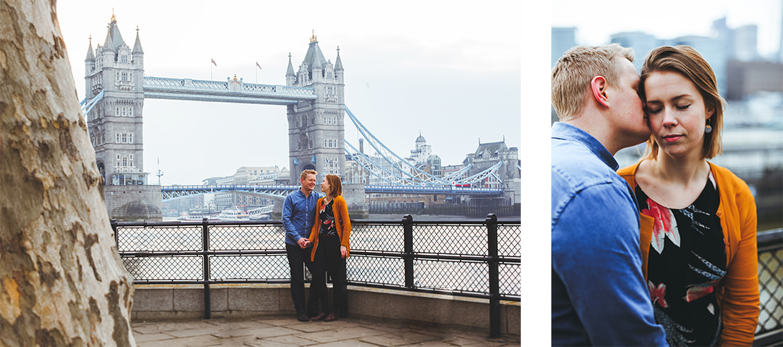 Couple engaged in london at tower bridge