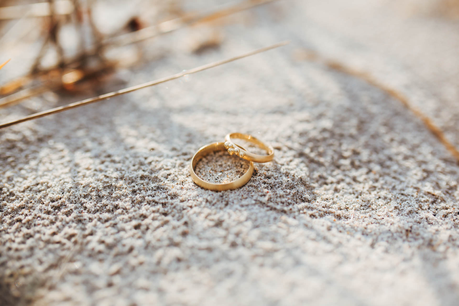 Wedding bands on the sand in Amager strand Copenhagen